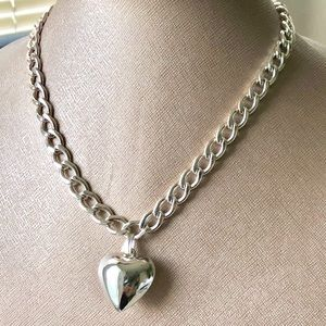 Puff Shiny Silver Heart Chain Link Necklace